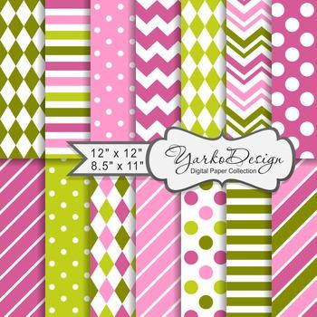 Green And Pink Geometric Digital Paper Set, 14 Digital Pap