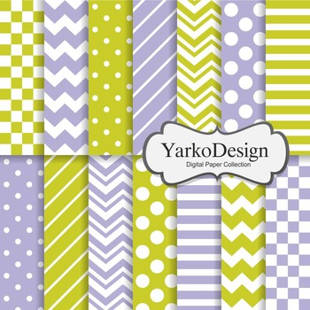 Green And Purple Basic Geometric Digital Paper Set, 14 Digital Paper Sheets