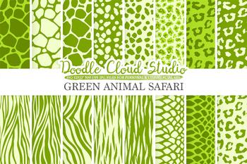 Green Animal Safari digital paper, Animal Fur pattern, Tiger stripes, Snake skin