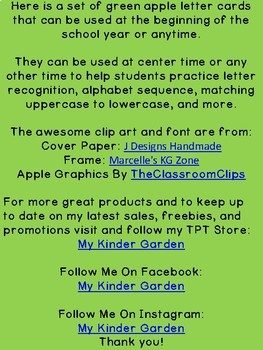 Green Apple Alphabet Letter Flashcards Uppercase and Lowercase