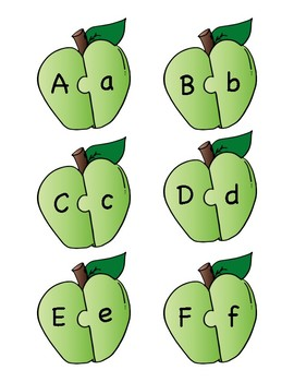 Green Apple Alphabet Letter Matching Puzzle Game or Center Activity