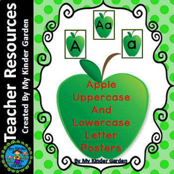 Green Apple Full Page Alphabet Letter Posters Uppercase an