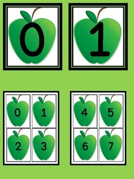 Green Apple Number Flashcards and Posters Bundle 0-100