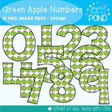 Green Apple Numbers Clipart Set