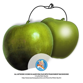 Green Apple: Photo, Vector, Black and White Outline