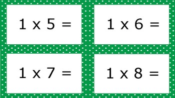 Green Apple Spotty Times Tables Flash Cards