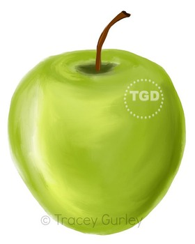 Green Apple clip art, green apple Printable Tracey Gurley Designs