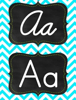 Green & Aqua/tourquise chevron manuscript print and cursiv