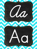 Green & Aqua/tourquise chevron manuscript print and cursive alphabet