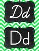 Green & Aqua/tourquise chevron manuscript print and cursive alphabet