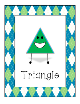 Green Argyle Border Shape Signs in English and Spanish featuring 3D shapes