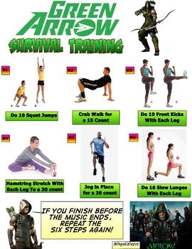 Green Arrow Superhero Fitness Warm Up Activity For Pe Tpt