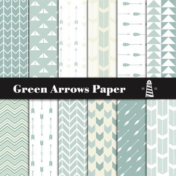 Green Arrows Digital Paper Pack | Scrapbook Paper | Printable Backgrounds