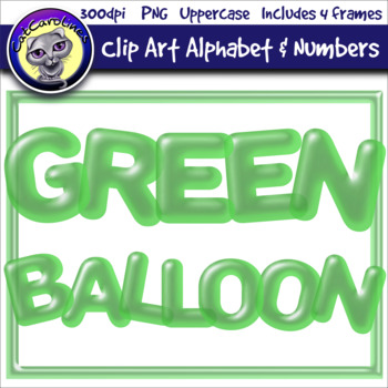 Green Balloon Clip Art Alphabet Letters & Frames