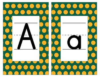 Green Bay Packers Inspired Green & Gold Alphabet Cards-Word Walls-Editable