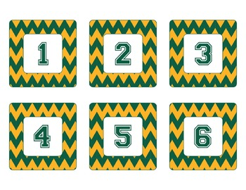 Green Bay Packers Inspired Green and Yellow Chevron Calendar Pieces-Editable
