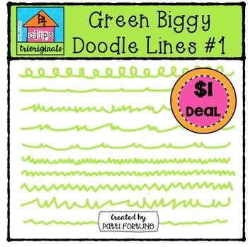 Green Biggy Doodle Lines #1 {P4 Clips Trioriginals Digital Clip Art}