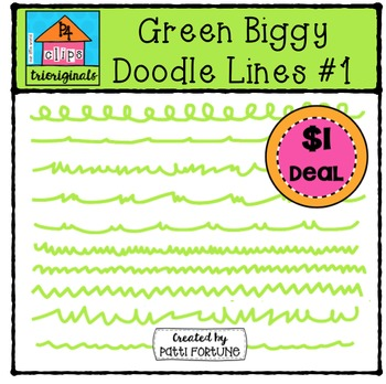 Green Biggy Doodle Lines #1 {P4 Clips Trioriginals Digital