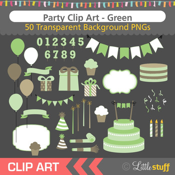 Green Birthday Party Clip Art (Set of 50)