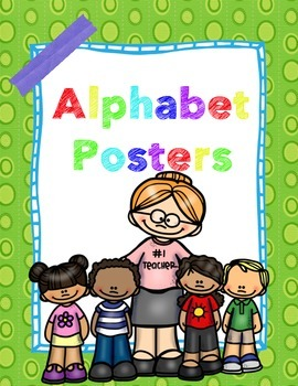Green & Blue ALPHABET POSTERS with picture name