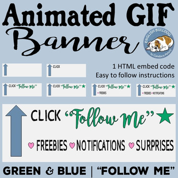 """Green & Blue Animated GIF """"Follow Me"""" Banner"""