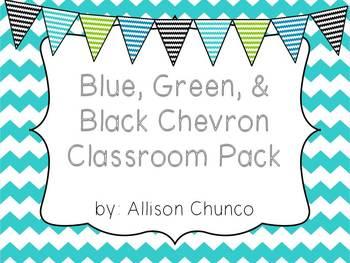 Green, Blue, & Black Chevron Pack