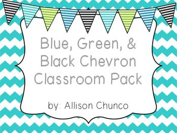 Green, Blue, & Black Chevron Pack