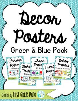 Green & Blue Classroom Decor Poster Pack