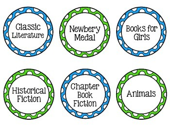 Green & Blue Classroom Library Labels