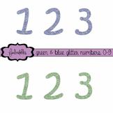 Green & Blue Glitter Numbers 0-9 Clip Art