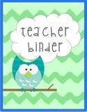 Green & Blue Owl Teacher Binder