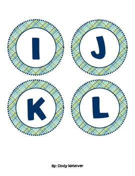 Green & Blue Plaid Word Wall Letter Cards