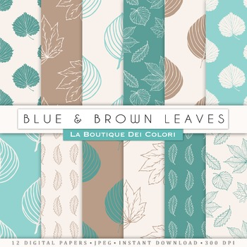 Green Blue and Brown leaves Digital Paper, scrapbook backgrounds.