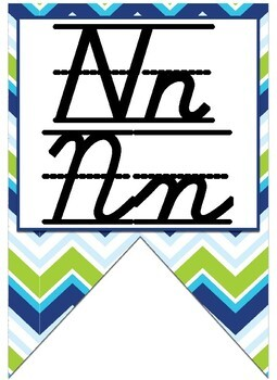 Green, Navy Blue, and turquoise themed print and cursive Alphabet banner