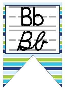 Green, Blue, and turquoise themed print and cursive Zaner Bloser Alphabet banner