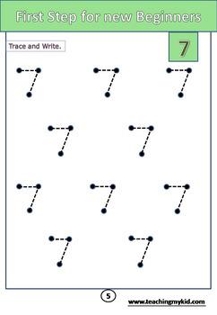 How to write MATH number 7 (kindergarten)