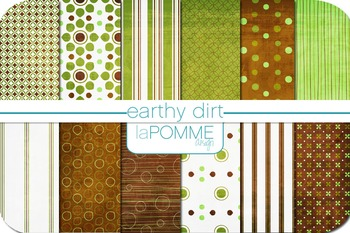 Green & Brown Earth Day Patterned Digital Paper Pack