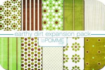 Green & Brown Earth Day Patterned Digital Paper Pack Set 2