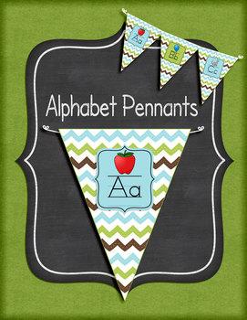 Green, Brown, and Blue Chevron Alphabet Pennants