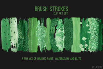 Green Brush Strokes Paint Glitter Foil Watercolor 20 PNG Clip Art 12in CU S5