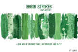 Green Brush Strokes Paint Glitter Foil Watercolor 20 PNG C