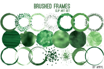 Green Brushed Round Frames Paint Glitter Watercolor 20 PNG Clip Art 8in CU S5