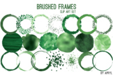 Green Brushed Round Frames Paint Glitter Watercolor 20 PNG