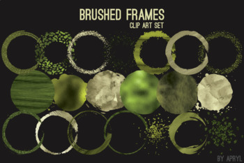 Green Brushed Round Frames Paint Glitter Watercolor 20 PNG Clip Art 8in S8