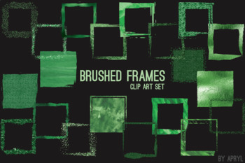Green Brushed Square Frames Paint Glitter Watercolor 20 PNG Clip Art 8in CU S5