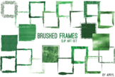Green Brushed Square Frames Paint Glitter Watercolor 20 PN