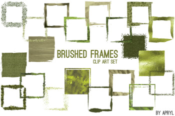 Green Brushed Square Frames Paint Glitter Watercolor 20 PNG Clip Art 8in S8