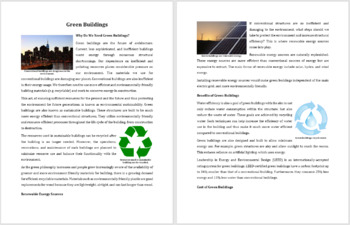 Green Buildings - Building for the future - Reading Article