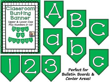 Green Bunting Banner Letters A-Z and Numbers 0-10