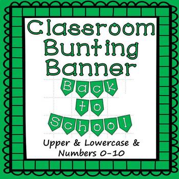 Green Bunting Banner Letters A to Z and Numbers 0 to 10